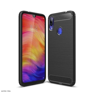 Xiaomi Redmi Note 8T / Redmi Note 8 fekete Carbon Case Rugalmas Cover TPU tok